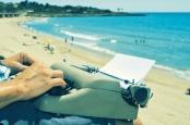 typewriter at beach