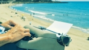 typewriter at beach