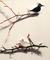 Dirty Birds on Branches and Fast Food Cups on Painted Tree Branch by Rohitash Rao